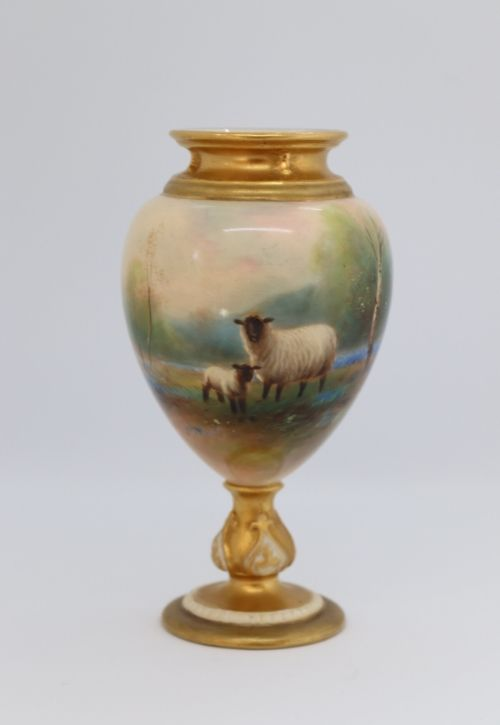 Royal Worcester Harry Davis pedestal vase Image